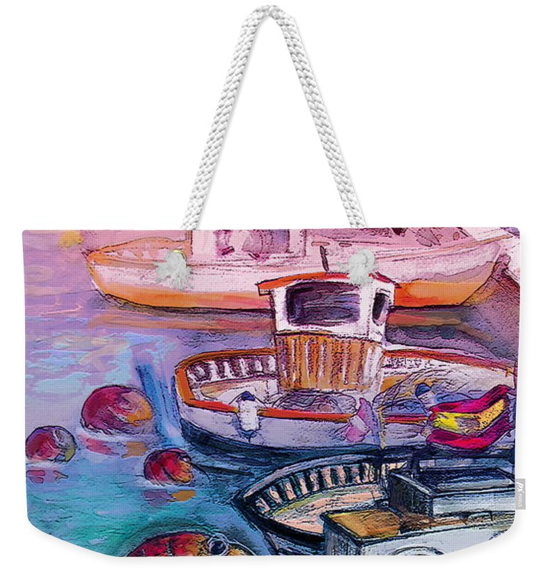 Calpe Weekender Tote Bag featuring the painting Calpe Harbour 03 by Miki De Goodaboom