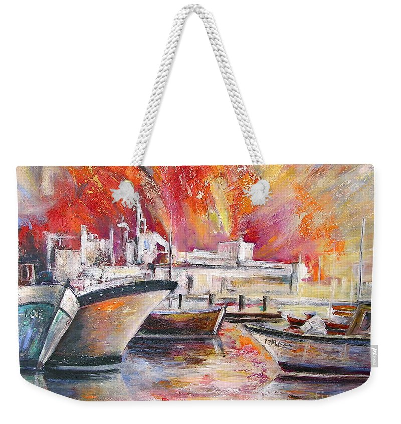 Harbour Painting Spain Seascape Acrylics Weekender Tote Bag featuring the painting Calpe Harbour Spain by Miki De Goodaboom