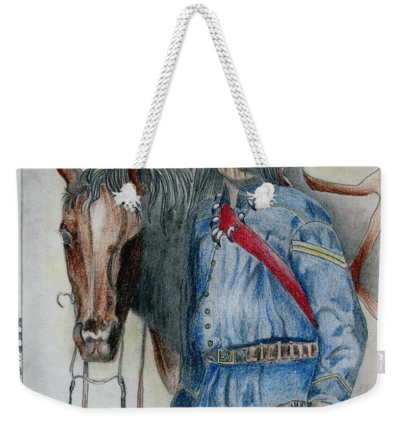 American Weekender Tote Bag featuring the drawing Calvary Scout by Jimmy Smith