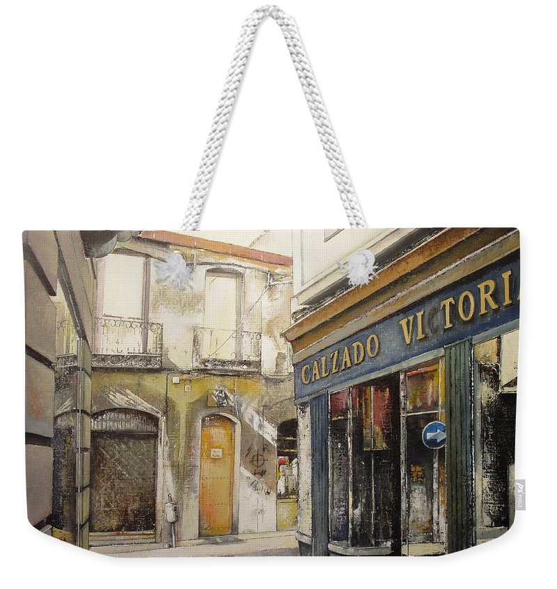 Calzados Weekender Tote Bag featuring the painting Calzados Victoria-leon by Tomas Castano