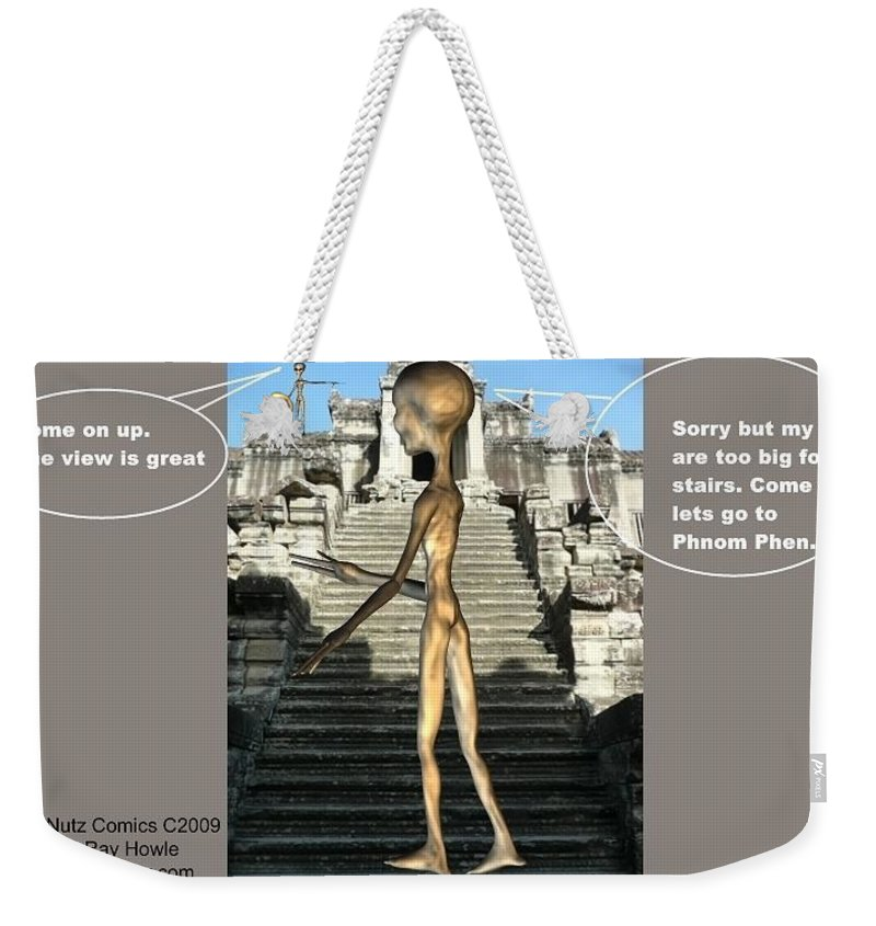 Space Art Alien Nutz Comics Weekender Tote Bag featuring the mixed media Cambodia 3 by Robert aka Bobby Ray Howle