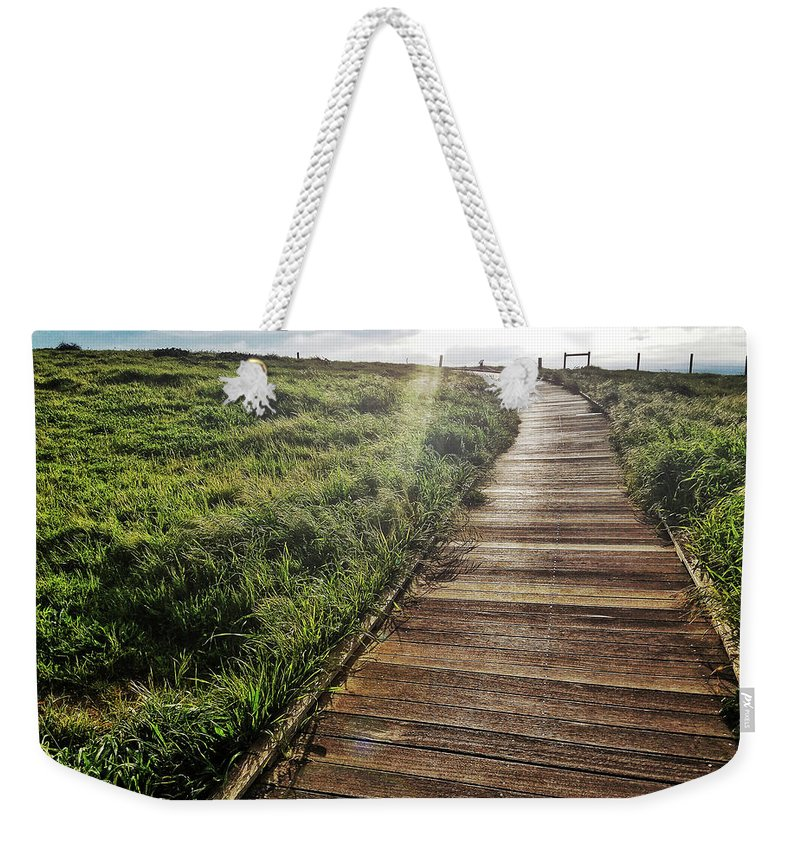 Cambria Weekender Tote Bag featuring the photograph Cambria Boardwald by Aaron James