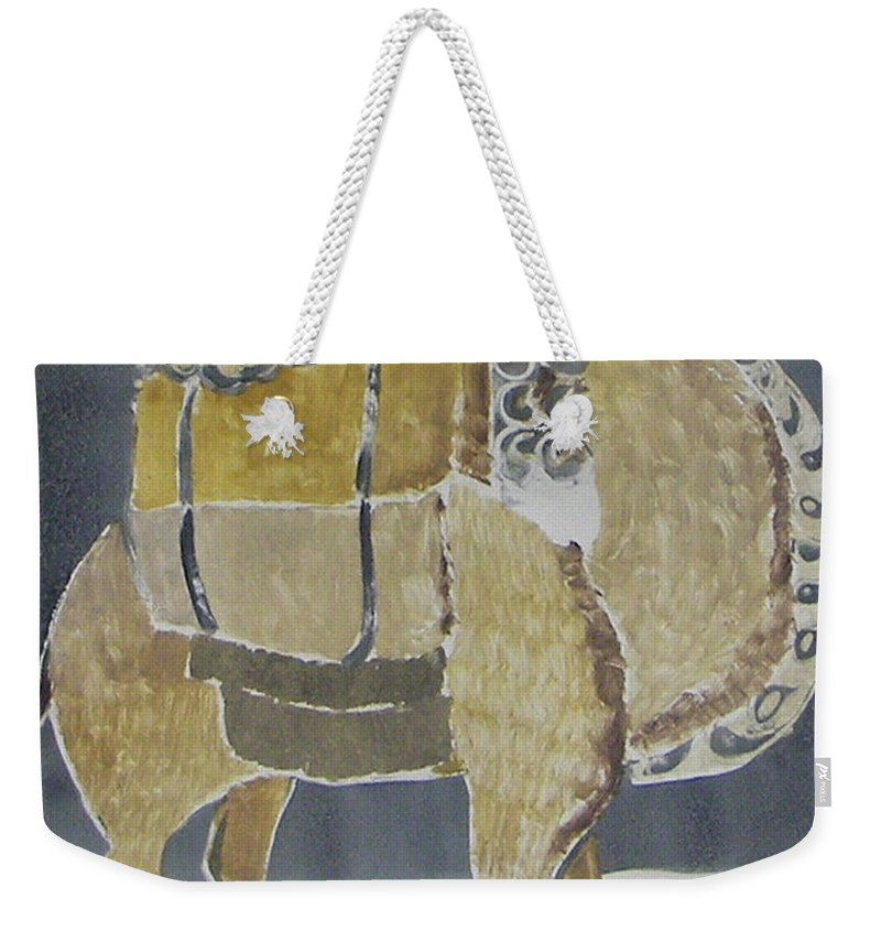 Animal Weekender Tote Bag featuring the painting Camel Facing Right by Thomas Tribby