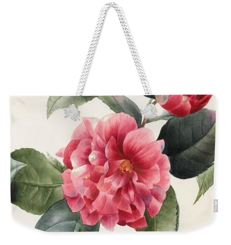 Camellia Weekender Tote Bag featuring the painting Camellia by Louise D'Orleans
