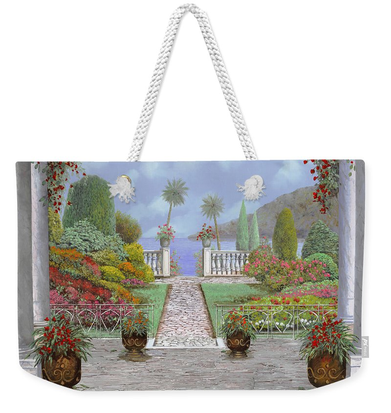 Lake Weekender Tote Bag featuring the painting Camminando Verso Il Lago by Guido Borelli