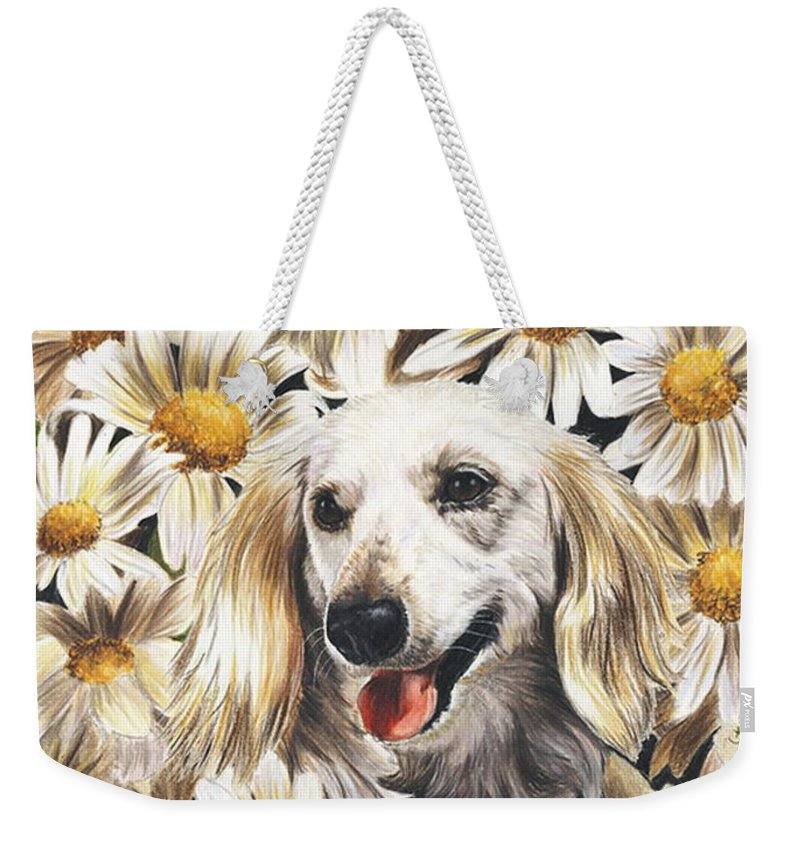 Dachshund Weekender Tote Bag featuring the drawing Camoflaged by Barbara Keith