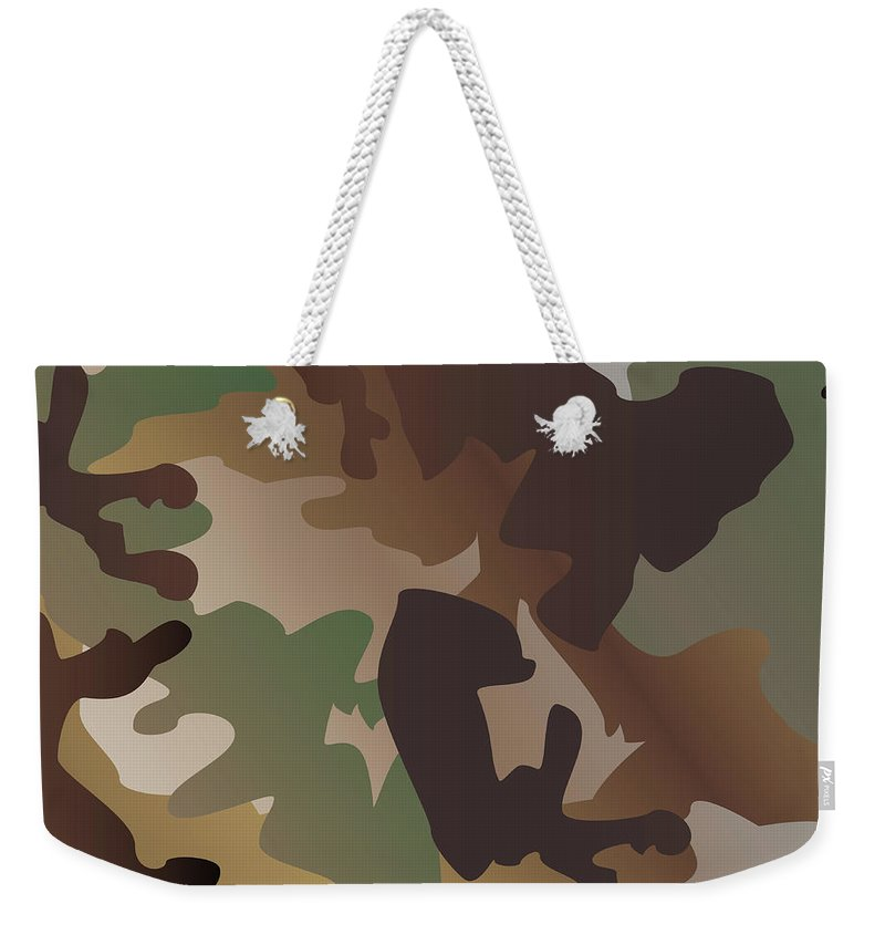 Seamless Weekender Tote Bag featuring the digital art Camouflage Pattern Background Clothing Print, Repeatable Camo G by Svetlana Corghencea
