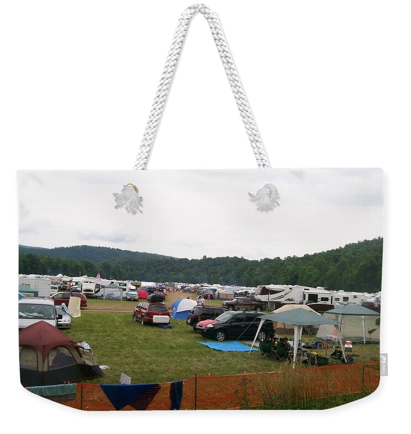 Creationfest Weekender Tote Bag featuring the photograph Camp Out by R Chambers