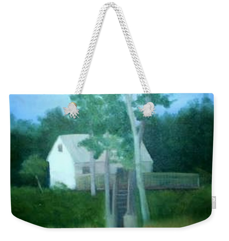 Trees Weekender Tote Bag featuring the painting Camp by Sheila Mashaw