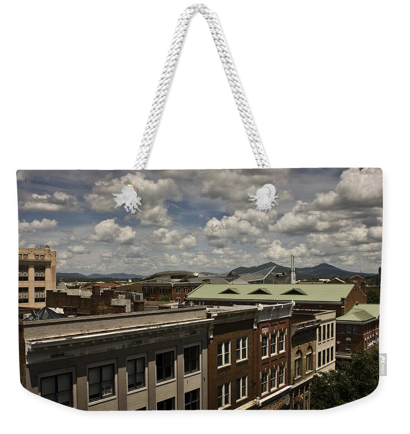 Cityscape Weekender Tote Bag featuring the photograph Campbell Avenue Rooftops Roanoke Virginia by Teresa Mucha