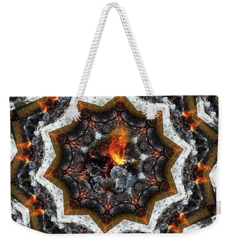 Abstract Weekender Tote Bag featuring the photograph Campfire Flame by Bob Welch