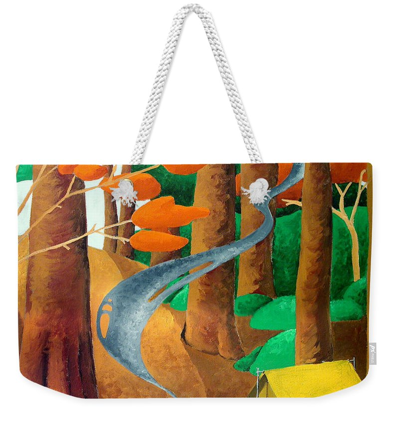 Landscape Weekender Tote Bag featuring the painting Camping - Through The Forest Series by Richard Hoedl