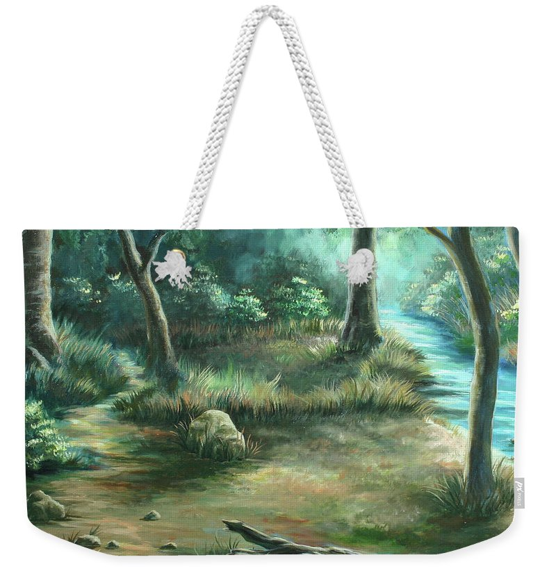 Landscape Weekender Tote Bag featuring the painting Camping At Figueroa Mountains by Jennifer McDuffie