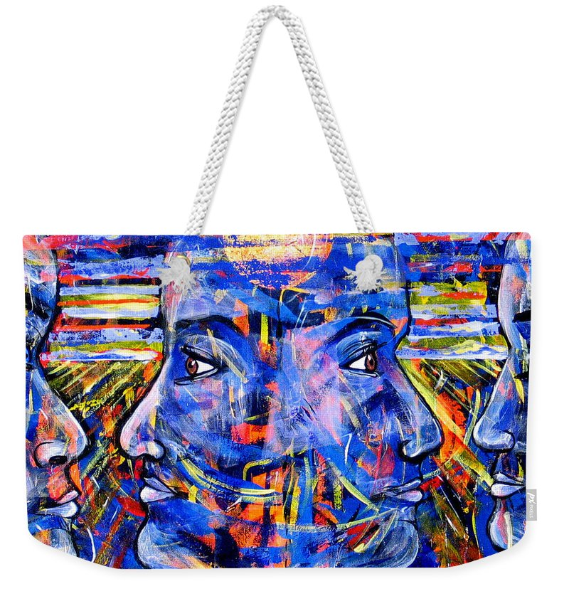Confrontation Weekender Tote Bag featuring the painting Can Not Live A Lie by Rollin Kocsis