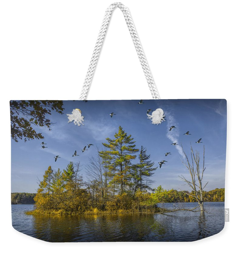 Beautiful Weekender Tote Bag featuring the photograph Canada Geese Flying By A Small Island On Hall Lake by Randall Nyhof