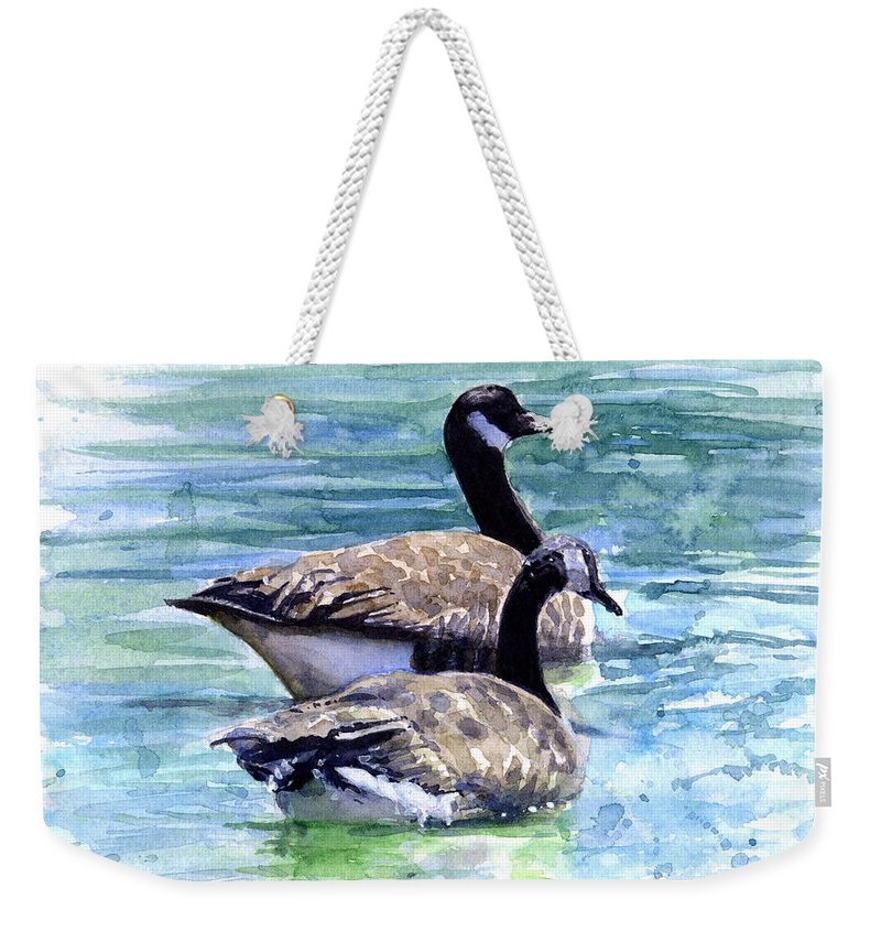 Canada Weekender Tote Bag featuring the painting Canada Geese by John D Benson