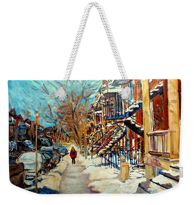 Montreal Weekender Tote Bag featuring the painting Canadian Art And Canadian Artists by Carole Spandau