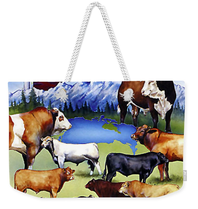Cattle Weekender Tote Bag featuring the painting Canadian Beef Breeds by Kurt Hafso