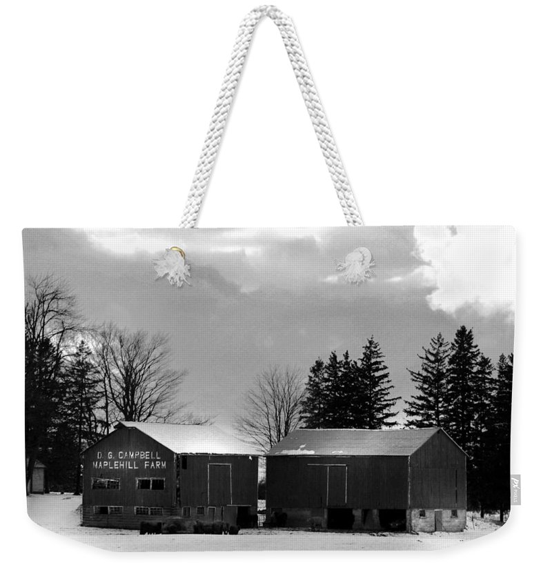 B&w Weekender Tote Bag featuring the photograph Canadian Farm by Anthony Jones