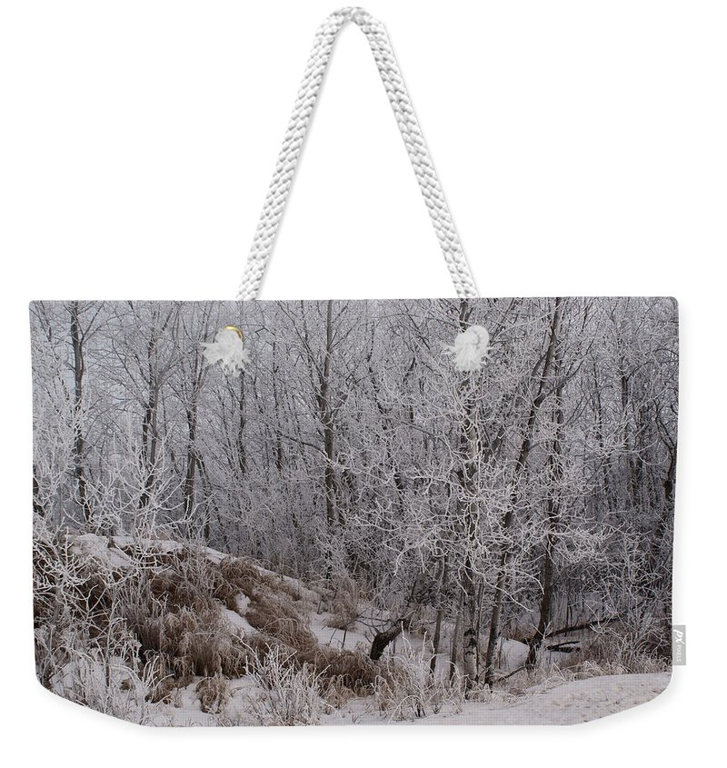 Canadian Ice Fog Weekender Tote Bag featuring the photograph Canadian Ice Fog by Joanne Smoley