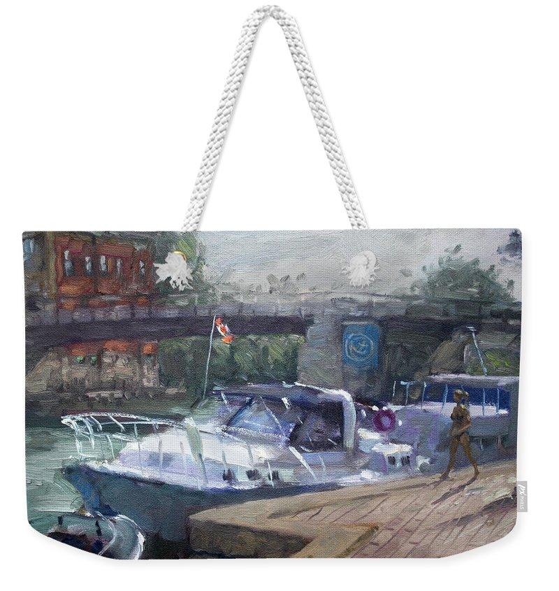 Yachts Weekender Tote Bag featuring the painting Canadian Yacht At Tonawanda Harbor by Ylli Haruni