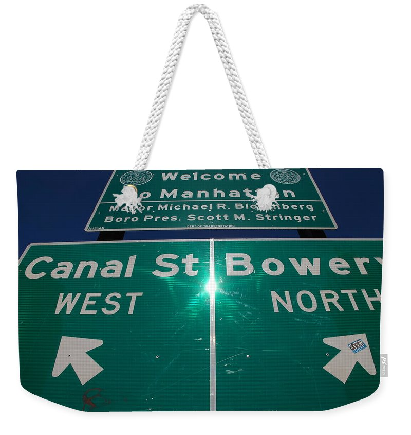 Pop Art Weekender Tote Bag featuring the photograph Canal And Bowery by Rob Hans