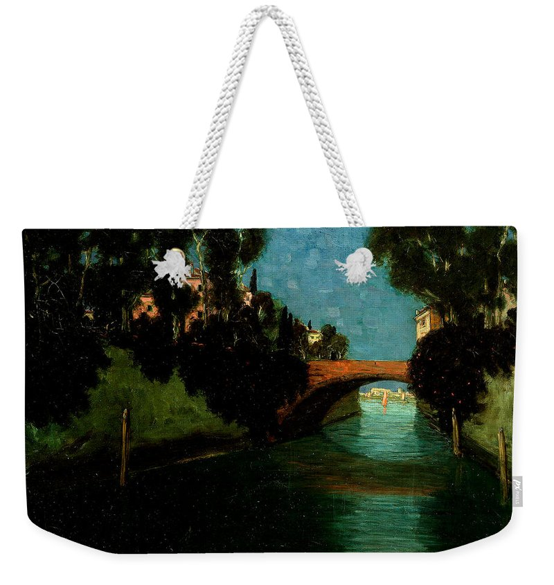Benno Becker Weekender Tote Bag featuring the painting Canal In Venice by Benno Becker