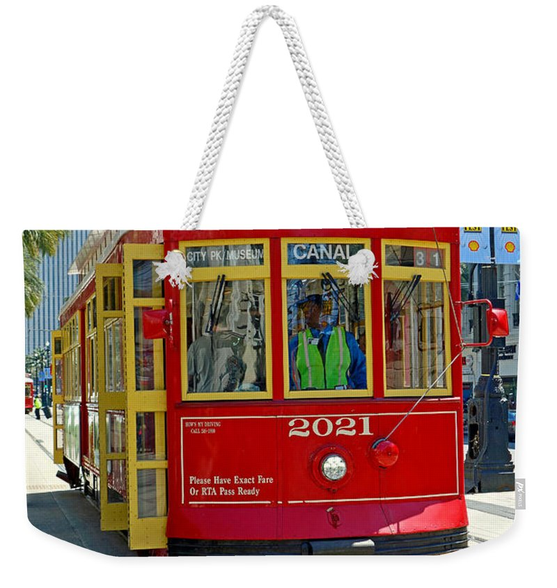 Canal Weekender Tote Bag featuring the photograph Canal Street Cable Car by Robert Meyers-Lussier
