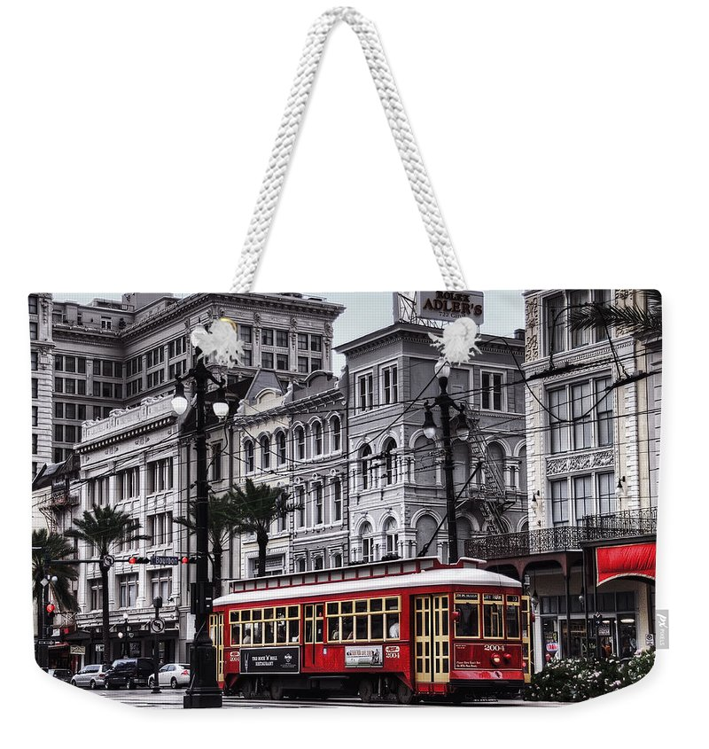 Nola Weekender Tote Bag featuring the photograph Canal Street Trolley by Tammy Wetzel