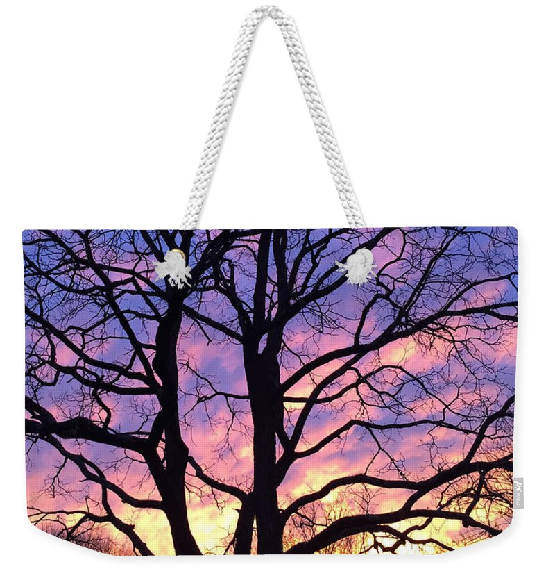 Copyright 2015 By Christopher Plummer Weekender Tote Bag featuring the photograph Canal Winter Sunset Pt by Christopher Plummer