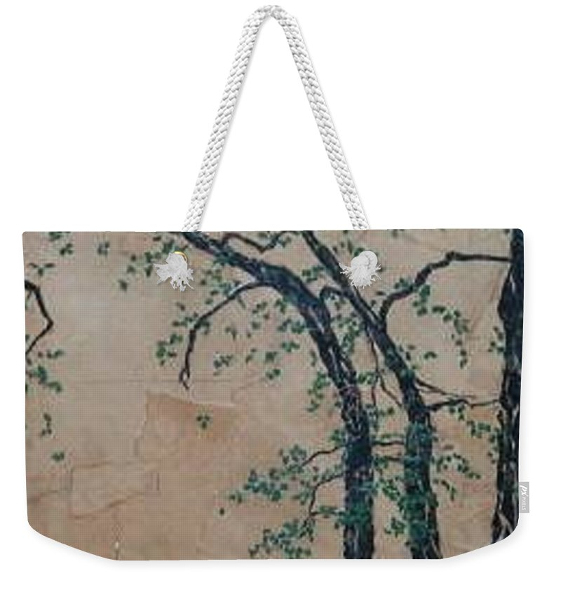 Leafy Tree Weekender Tote Bag featuring the painting Canandaigua Lake by Leah Tomaino