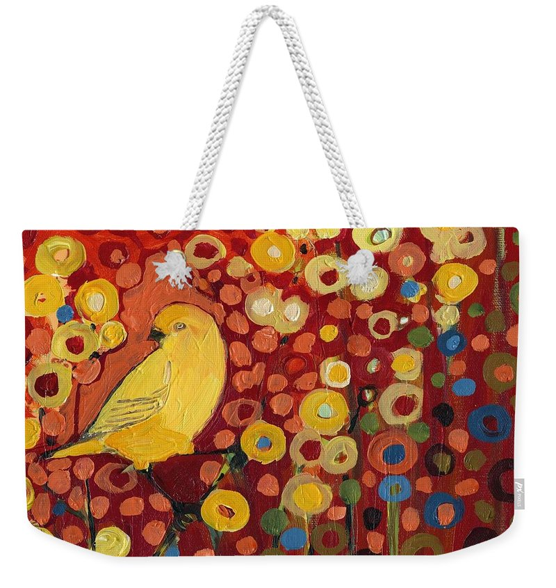 Canary Weekender Tote Bag featuring the painting Canary in Red by Jennifer Lommers