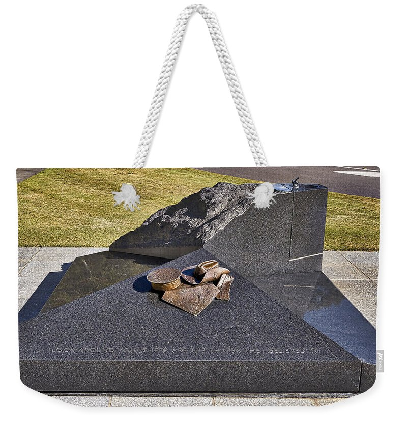 Australia Weekender Tote Bag featuring the photograph Canberra Veterans Statue by Steven Ralser