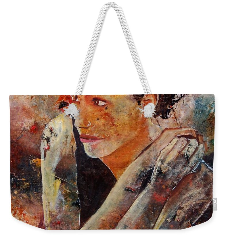 Figurative Weekender Tote Bag featuring the painting Candid Eyes by Pol Ledent