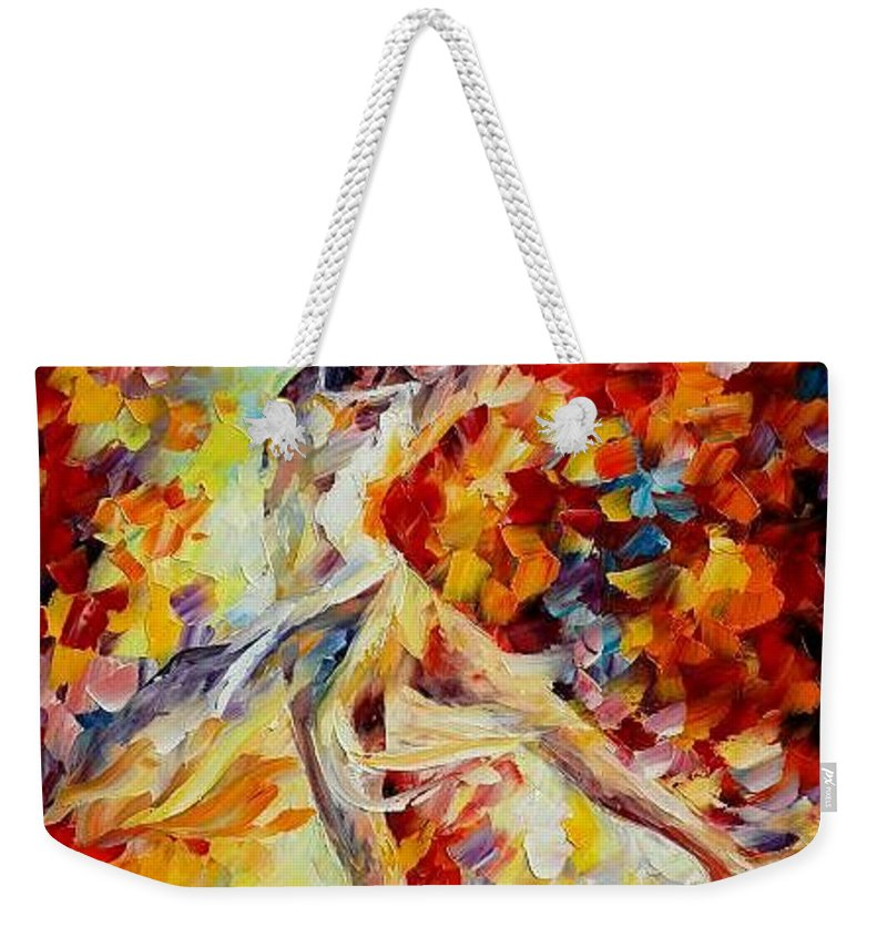 Danse Weekender Tote Bag featuring the painting Candle Fire by Leonid Afremov
