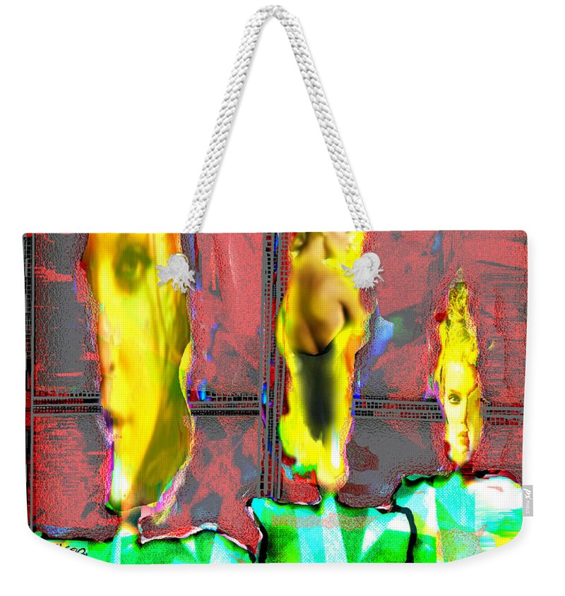 Candle Weekender Tote Bag featuring the digital art Candle in the Window by Seth Weaver
