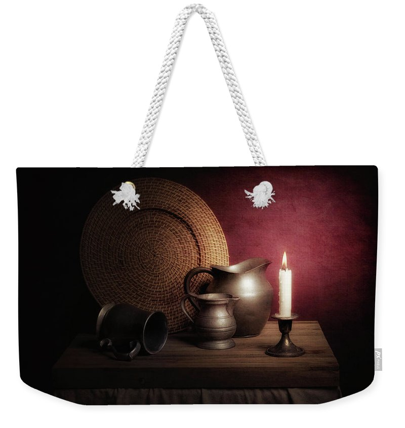 Pitcher Weekender Tote Bag featuring the photograph Candle Light Still Life by Tom Mc Nemar