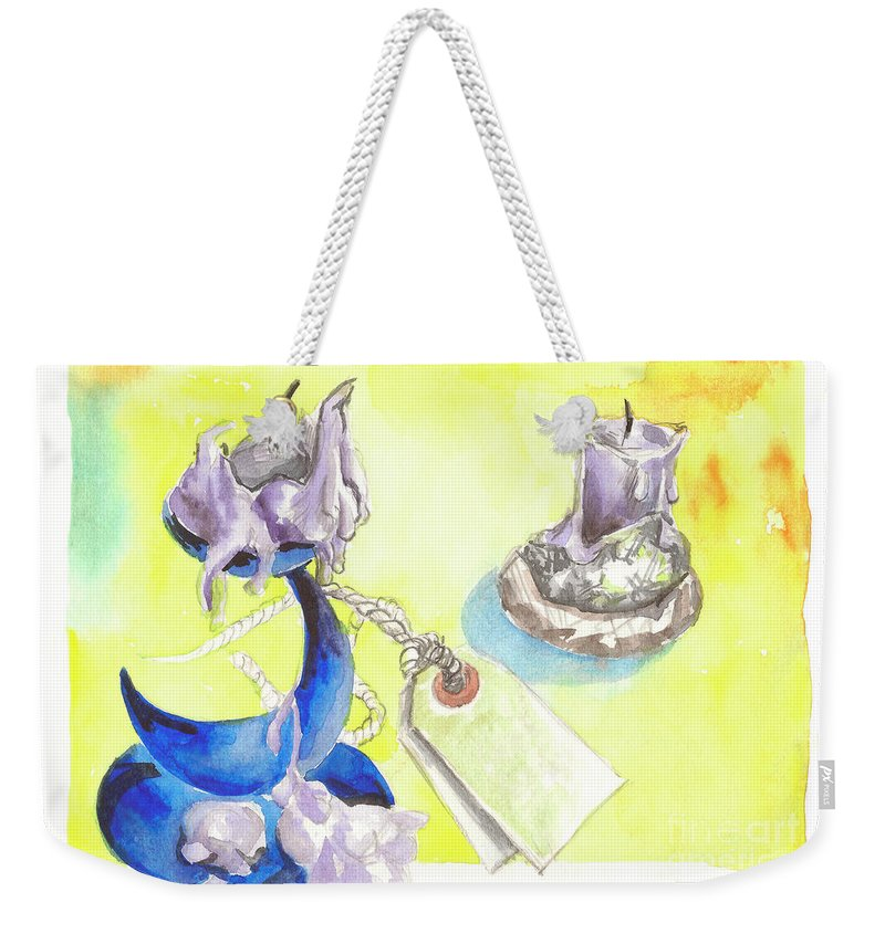Candlestick Weekender Tote Bag featuring the painting Candle by Yana Sadykova