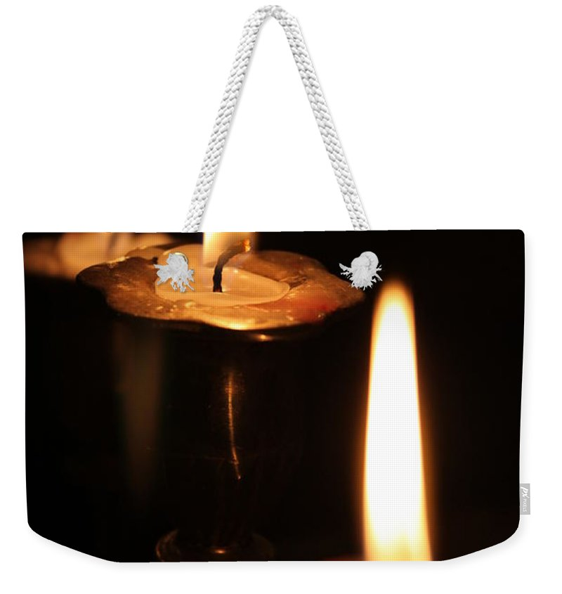 Candles Weekender Tote Bag featuring the photograph Candlelight by Lauri Novak