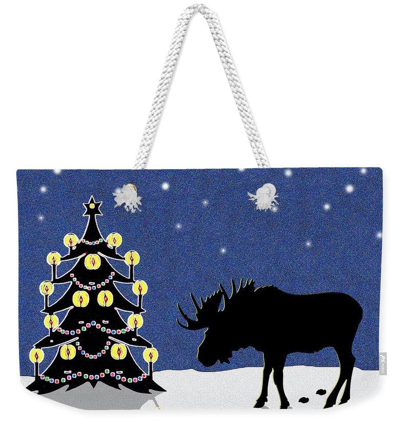 Moose Weekender Tote Bag featuring the digital art Candlelit Christmas Tree And Moose In The Snow by Nancy Mueller