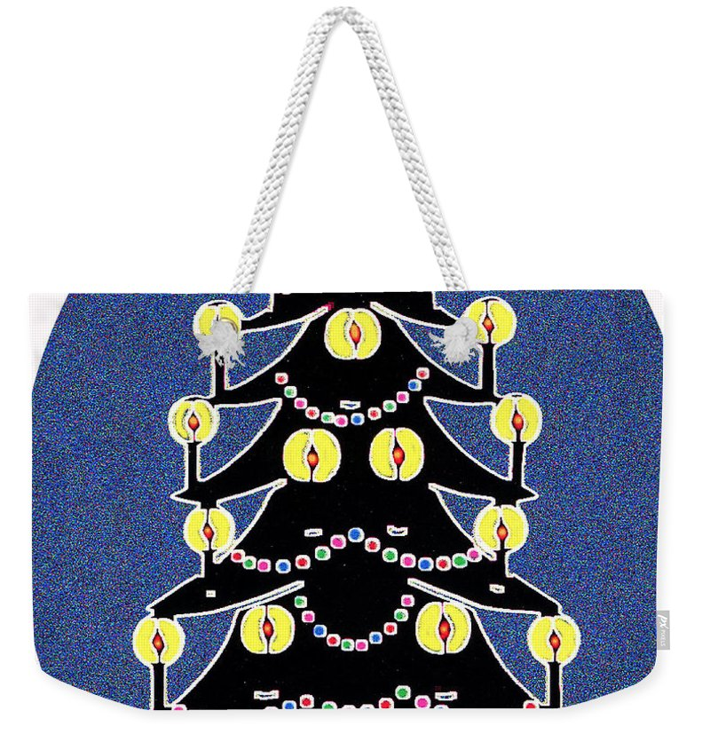 Christmas Weekender Tote Bag featuring the digital art Candlelit Christmas Tree by Nancy Mueller