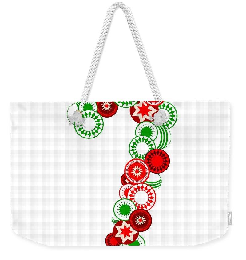 Candy Weekender Tote Bag featuring the digital art Candy Cane - Christmas Ornaments - Holiday Season by Anastasiya Malakhova