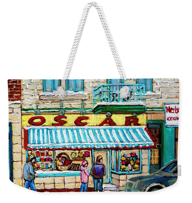 Candy Shop Weekender Tote Bag featuring the painting Candy Shop by Carole Spandau