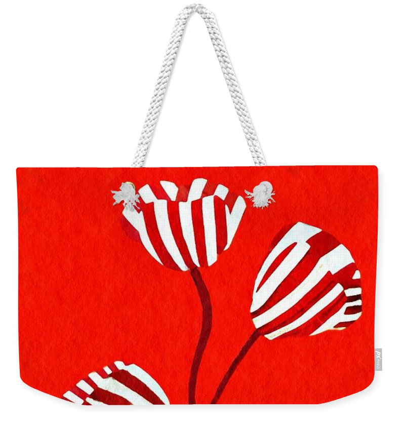 Tulip Weekender Tote Bag featuring the mixed media Candy Stripe Tulips by Sarah Loft