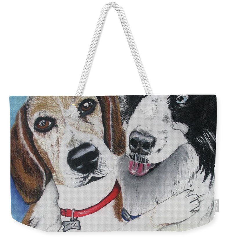Dog Painting Weekender Tote Bag featuring the painting Canine Friends by Michelle Hayden-Marsan