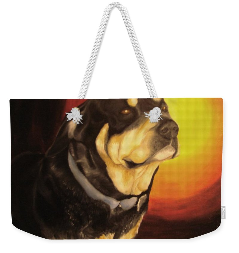 Paintings Weekender Tote Bag featuring the painting Canine Vision by Glory Fraulein Wolfe