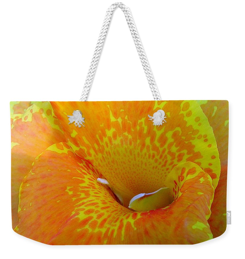 Orange Yellow Flower Weekender Tote Bag featuring the photograph Canna by Luciana Seymour