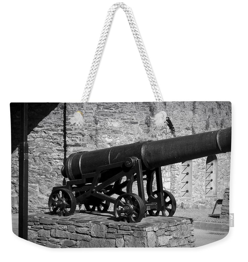 Irish Weekender Tote Bag featuring the photograph Cannon At Macroom Castle Ireland by Teresa Mucha