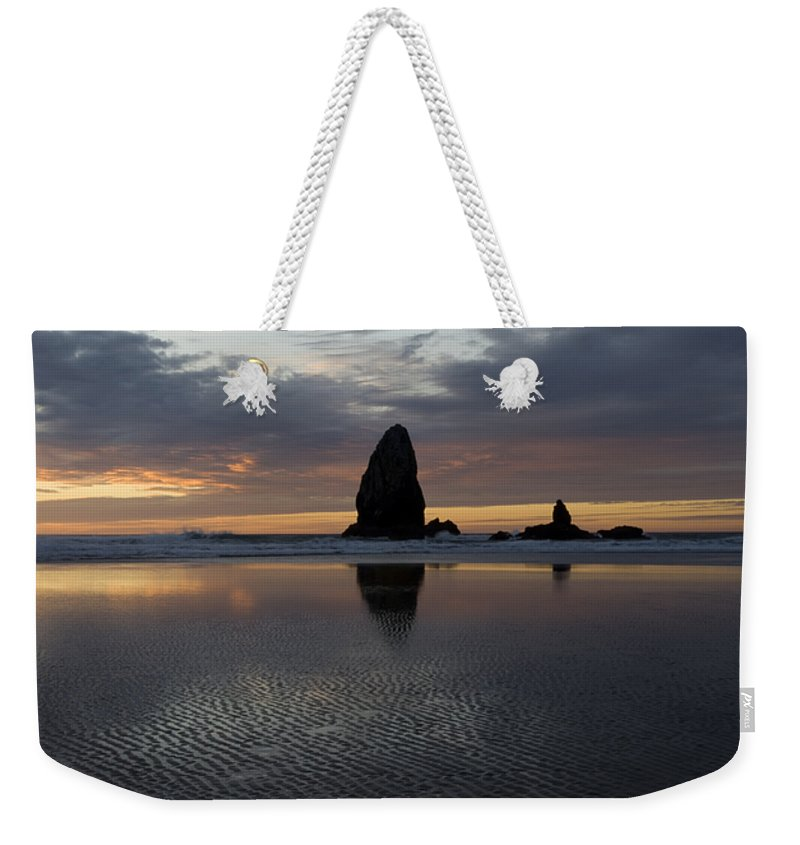 Cannon Beach Weekender Tote Bag featuring the photograph Cannon Beach At Sunset 7 by Bob Christopher