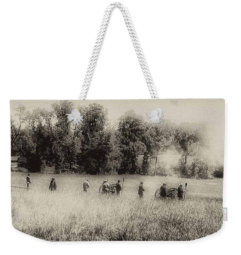 Cannon Weekender Tote Bag featuring the photograph Cannon Fire At Gettysburg by Bill Cannon
